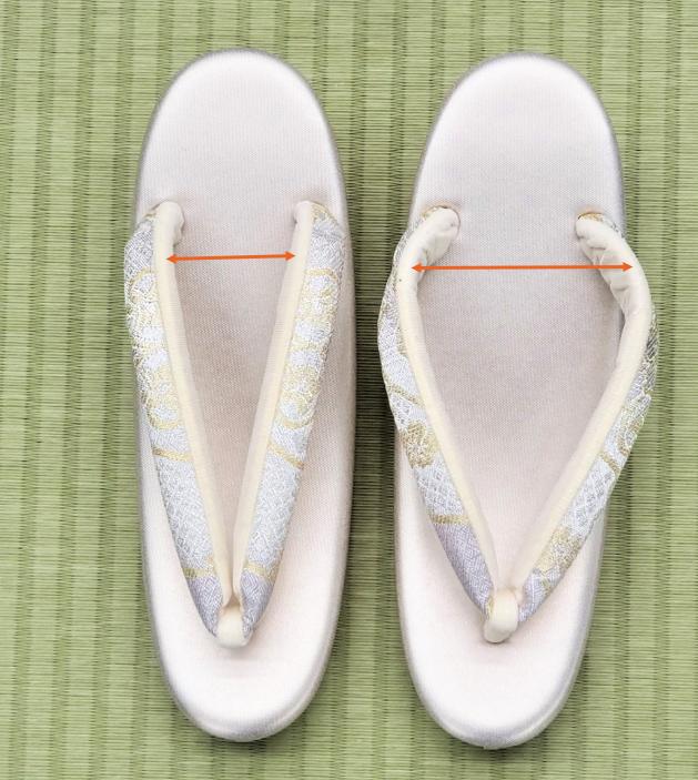 草履の新品は鼻緒の幅が狭いので広げると履きやすい