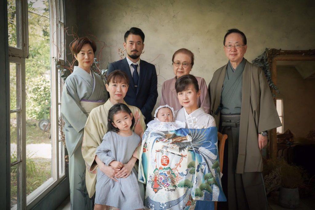 お宮参り家族撮影